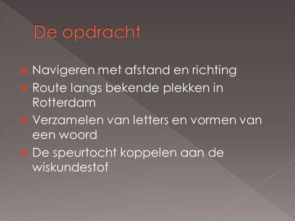  Navigeren met afstand en richting  Route langs bekende plekken in Rotterdam  Verzamelen van letters en vormen van een woord  De speurtocht koppel