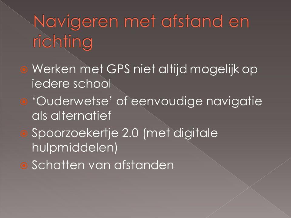  Werken met GPS niet altijd mogelijk op iedere school  'Ouderwetse' of eenvoudige navigatie als alternatief  Spoorzoekertje 2.0 (met digitale hulpm