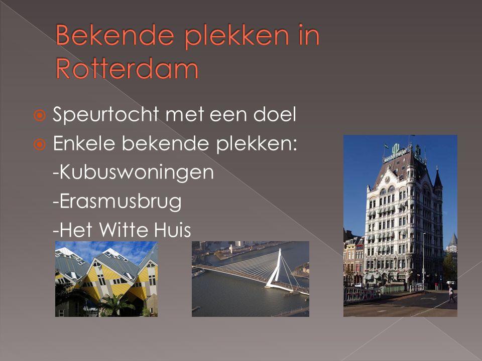  Speurtocht met een doel  Enkele bekende plekken: -Kubuswoningen -Erasmusbrug -Het Witte Huis