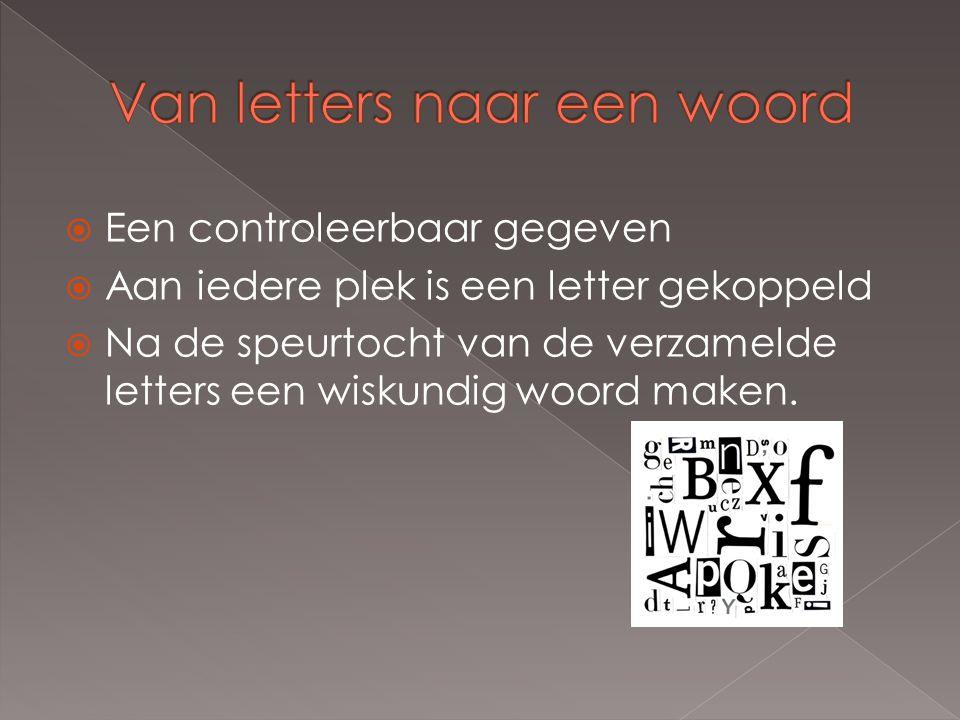  Een controleerbaar gegeven  Aan iedere plek is een letter gekoppeld  Na de speurtocht van de verzamelde letters een wiskundig woord maken.
