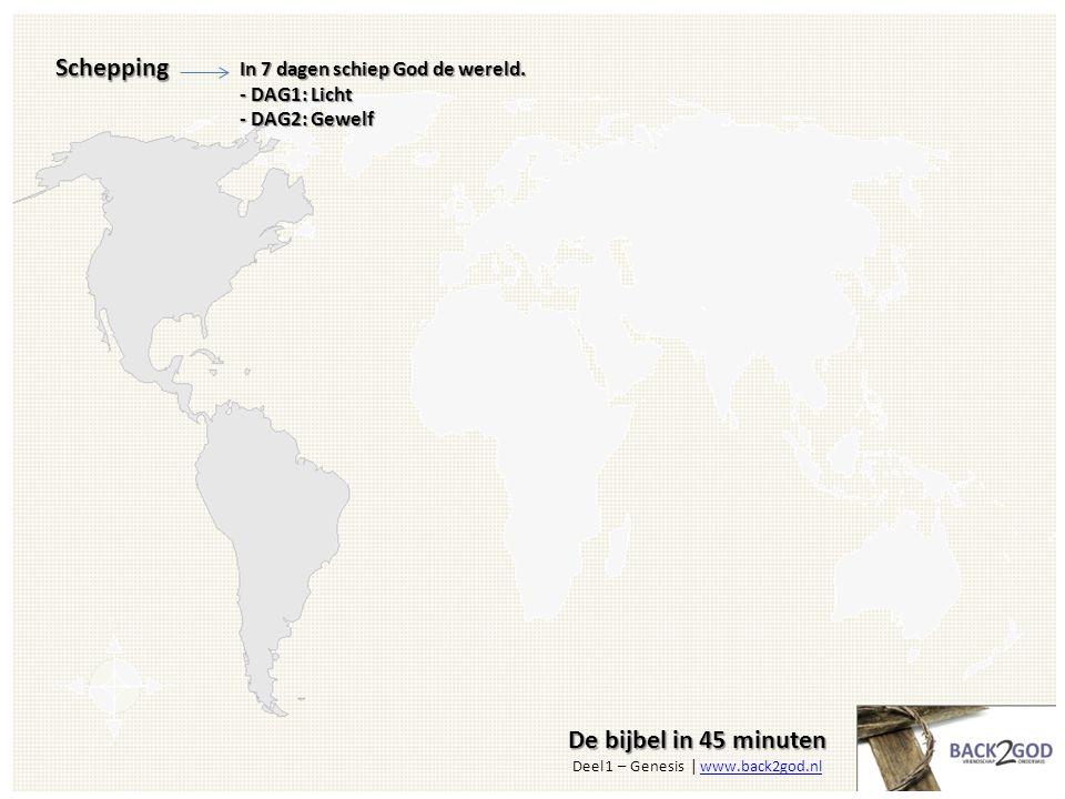 De bijbel in 45 minuten De bijbel in 45 minuten Deel 1 – Genesis | www.back2god.nlwww.back2god.nlSchepping In 7 dagen schiep God de wereld.