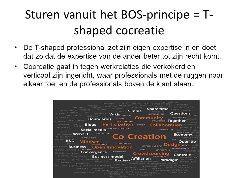 Sturen vanuit het BOS-principe = T- shaped cocreatie •De T-shaped professional zet zijn eigen expertise in en doet dat zo dat de expertise van de ander beter tot zijn recht komt.