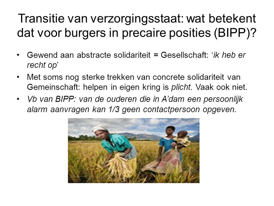 Transitie van verzorgingsstaat: wat betekent dat voor burgers in precaire posities (BIPP).