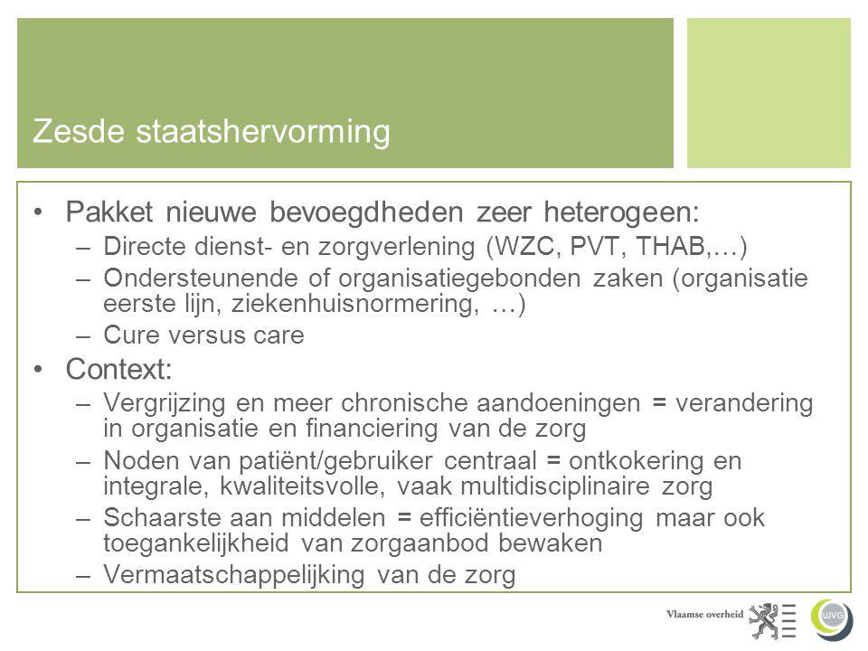 Zesde staatshervorming •Pakket nieuwe bevoegdheden zeer heterogeen: –Directe dienst- en zorgverlening (WZC, PVT, THAB,…) –Ondersteunende of organisati