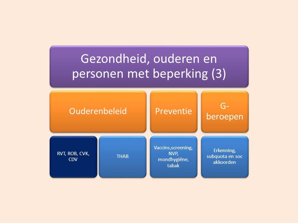Gezondheid, ouderen en personen met beperking (3) Ouderenbeleid RVT, ROB, CVK, CDV THAB Preventie Vaccins,screenin g, NVP, mondhygiëne, tabak G- beroe