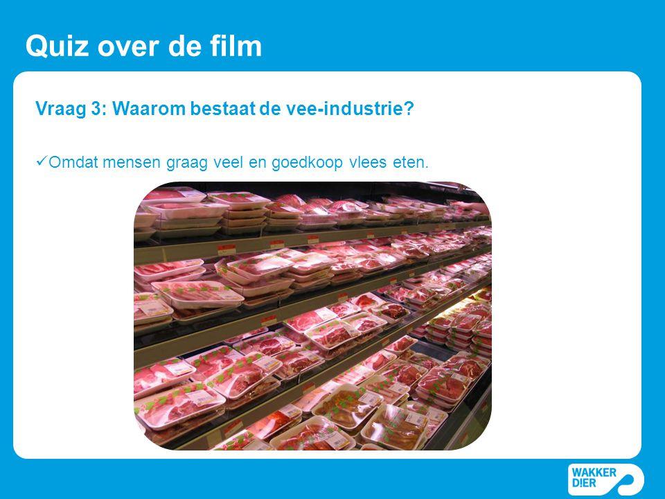 Vraag 3: Waarom bestaat de vee-industrie? Quiz over de film  Omdat mensen graag veel en goedkoop vlees eten.