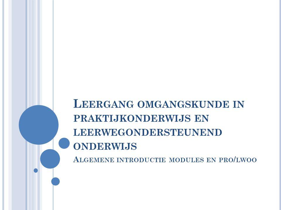 P ROGRAMMA Waarom deze modules Organisatie en werkwijze modules Kader en uitgangspunten van de modules Wie is de pro/lwoo leerling.