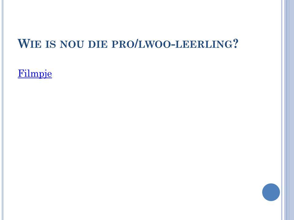 W IE IS DE PRO / LWOO - LEERLING .