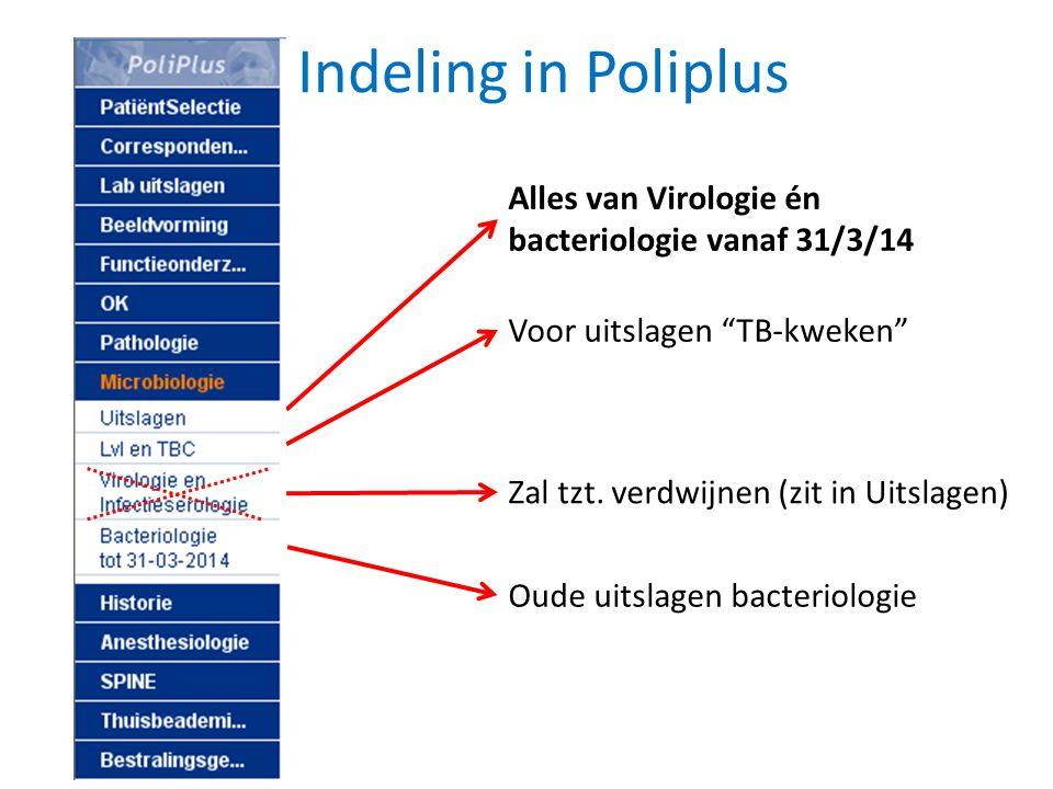 """Indeling in Poliplus Oude uitslagen bacteriologie Voor uitslagen """"TB-kweken"""" Zal tzt. verdwijnen (zit in Uitslagen) Alles van Virologie én bacteriolog"""