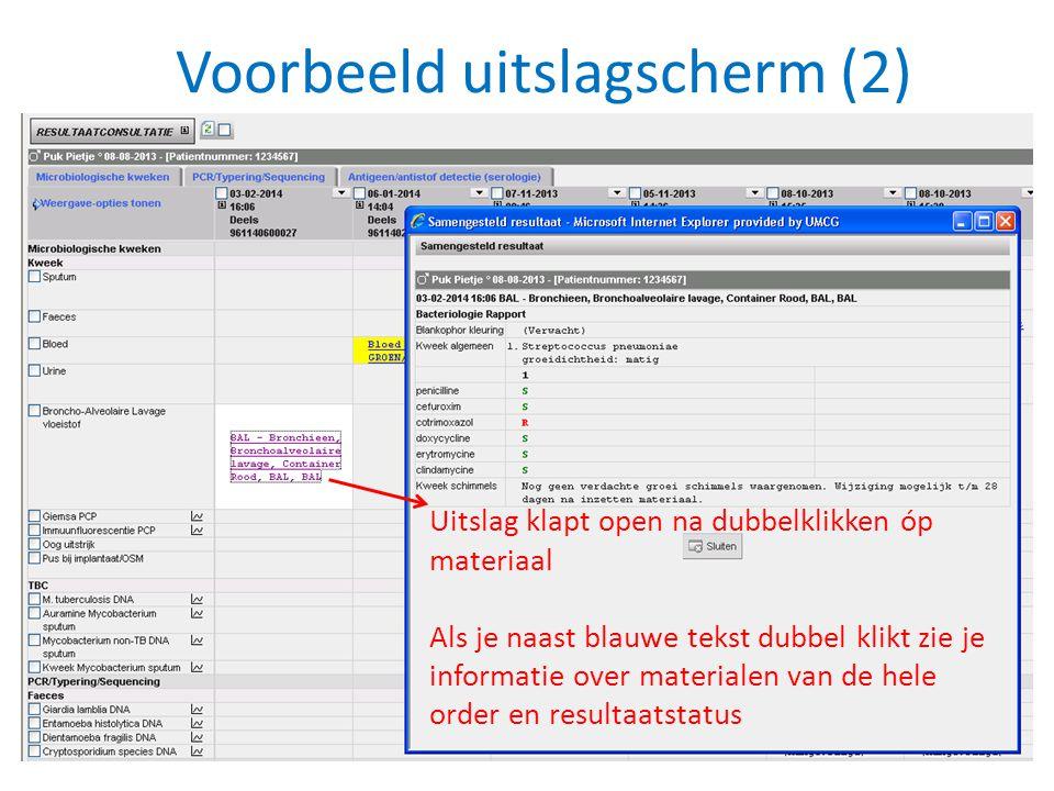 Voorbeeld uitslagscherm (2) Uitslag klapt open na dubbelklikken óp materiaal Als je naast blauwe tekst dubbel klikt zie je informatie over materialen