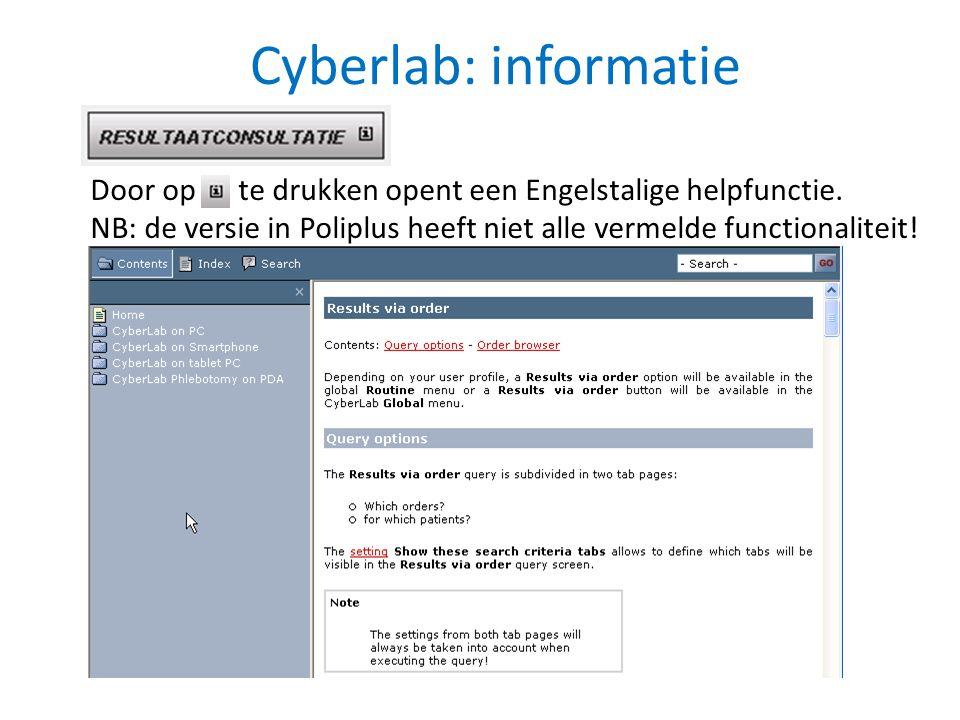 Cyberlab: informatie Door op te drukken opent een Engelstalige helpfunctie. NB: de versie in Poliplus heeft niet alle vermelde functionaliteit!