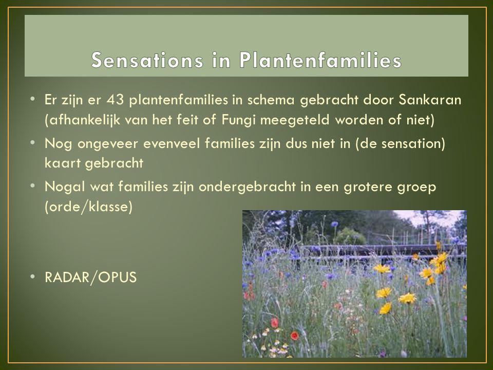 • Er zijn er 43 plantenfamilies in schema gebracht door Sankaran (afhankelijk van het feit of Fungi meegeteld worden of niet) • Nog ongeveer evenveel