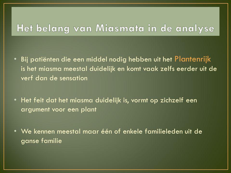 • Bij patiënten die een middel nodig hebben uit het Plantenrijk is het miasma meestal duidelijk en komt vaak zelfs eerder uit de verf dan de sensation
