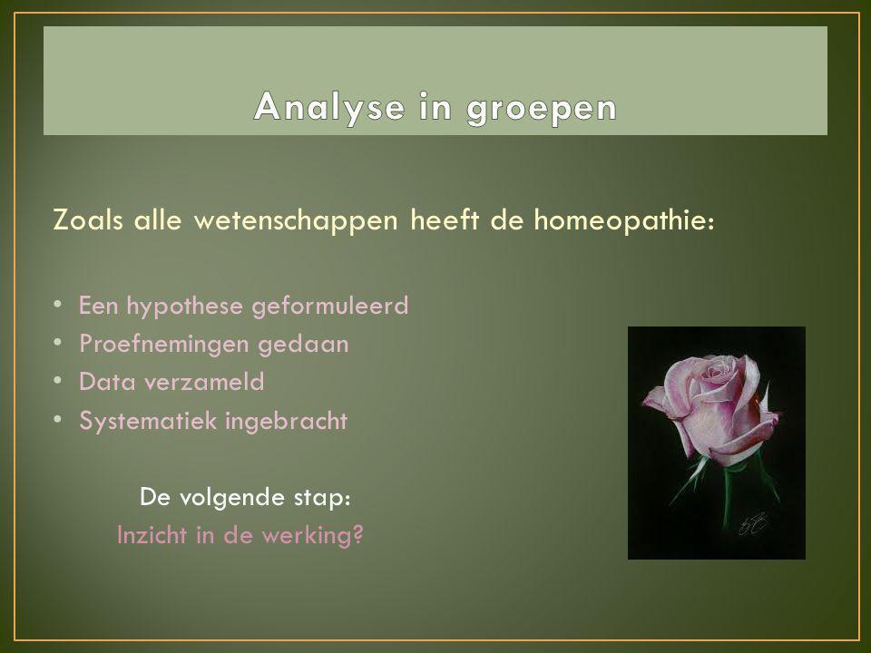 Zoals alle wetenschappen heeft de homeopathie: • Een hypothese geformuleerd • Proefnemingen gedaan • Data verzameld • Systematiek ingebracht De volgen