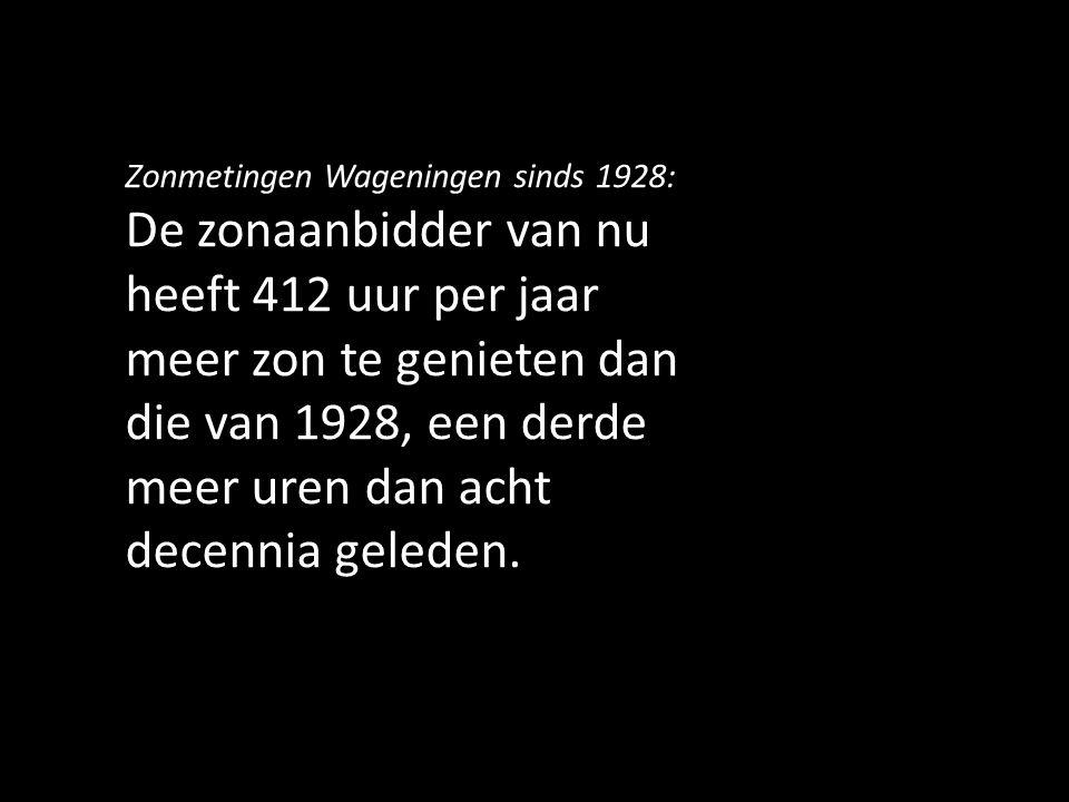 Zonmetingen Wageningen sinds 1928: De zonaanbidder van nu heeft 412 uur per jaar meer zon te genieten dan die van 1928, een derde meer uren dan acht d