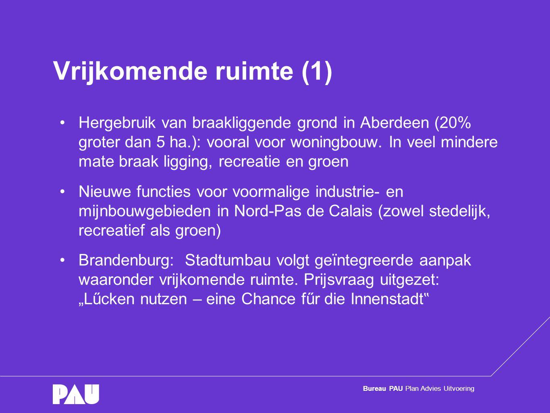 Bureau PAU Plan Advies Uitvoering Vrijkomende ruimte (2) Nord-Pas de Calais: •Nieuwe functies voor voormalige industrie- en mijnbouwgebieden •Keuze voor stedelijke, recreatieve of juist groene invulling hangt af van waar de behoefte ligt.