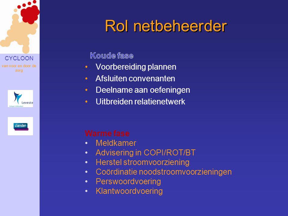 CYCLOON van voor en door de zorg Rol netbeheerder Warme fase •Meldkamer •Advisering in COPI/ROT/BT •Herstel stroomvoorziening •Coördinatie noodstroomv