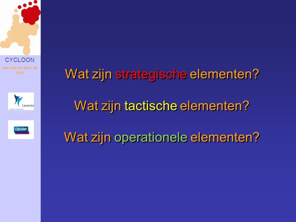 CYCLOON van voor en door de zorg Wat zijn strategische elementen? Wat zijn tactische elementen? Wat zijn operationele elementen?