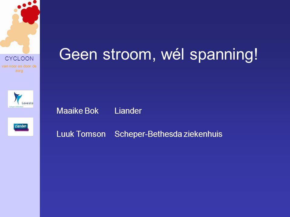CYCLOON van voor en door de zorg Maaike BokLiander Luuk Tomson Scheper-Bethesda ziekenhuis Geen stroom, wél spanning!