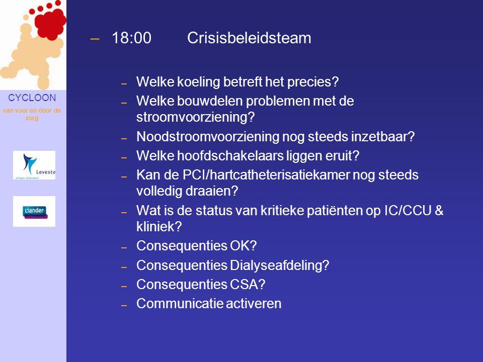 CYCLOON van voor en door de zorg –18:00Crisisbeleidsteam – Welke koeling betreft het precies? – Welke bouwdelen problemen met de stroomvoorziening? –
