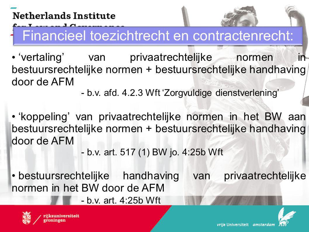 Financieel toezichtrecht en contractenrecht: • 'vertaling' van privaatrechtelijke normen in bestuursrechtelijke normen + bestuursrechtelijke handhaving door de AFM - b.v.