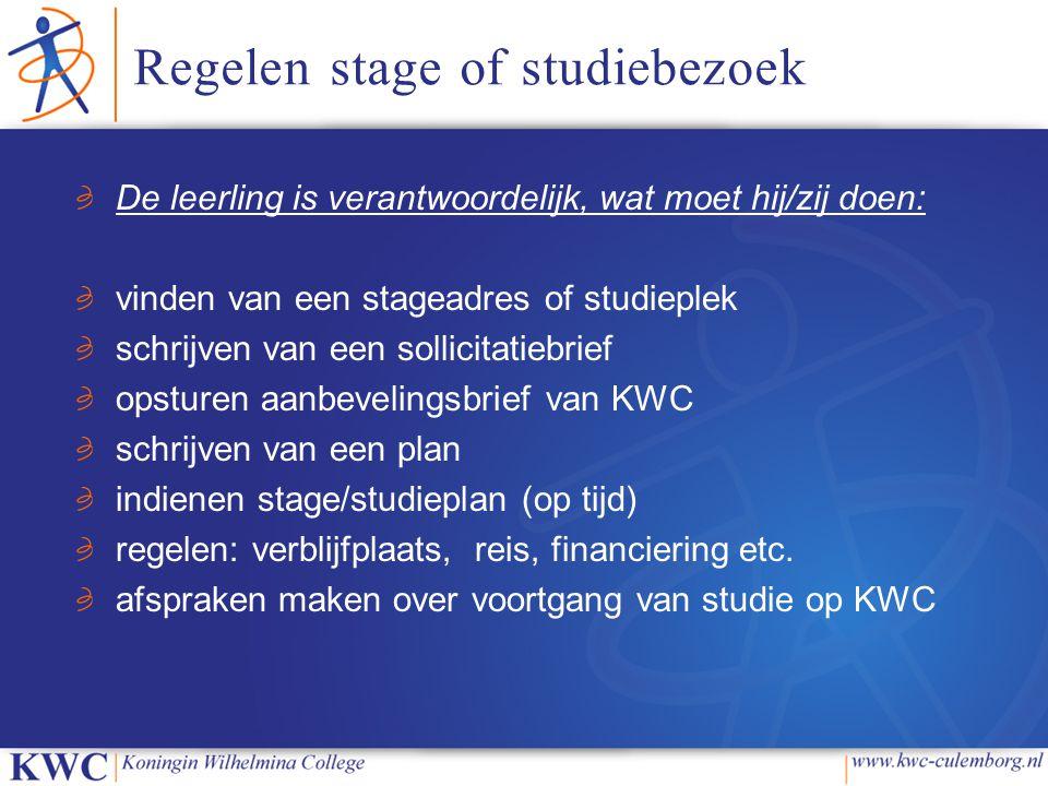 Regelen stage of studiebezoek De leerling is verantwoordelijk, wat moet hij/zij doen: vinden van een stageadres of studieplek schrijven van een sollic