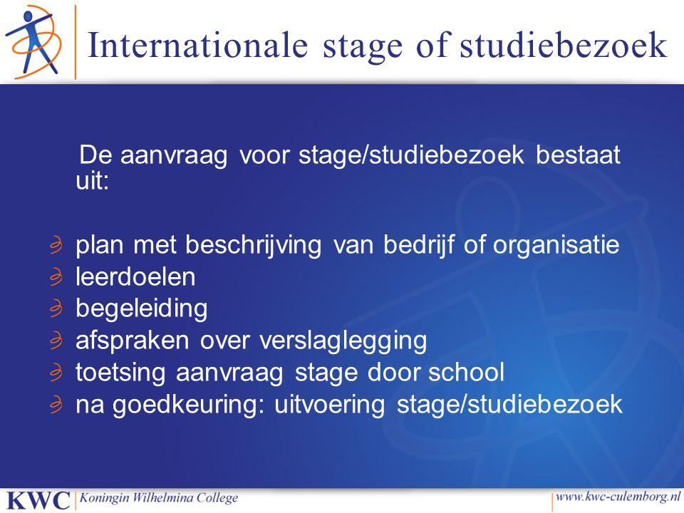 Internationale stage of studiebezoek De aanvraag voor stage/studiebezoek bestaat uit: plan met beschrijving van bedrijf of organisatie leerdoelen bege