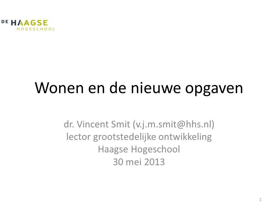 Wonen en de nieuwe opgaven dr. Vincent Smit (v.j.m.smit@hhs.nl) lector grootstedelijke ontwikkeling Haagse Hogeschool 30 mei 2013 1