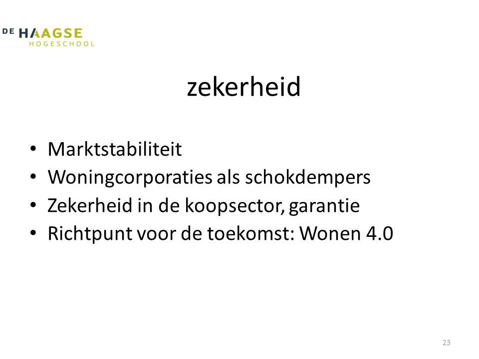 zekerheid • Marktstabiliteit • Woningcorporaties als schokdempers • Zekerheid in de koopsector, garantie • Richtpunt voor de toekomst: Wonen 4.0 23