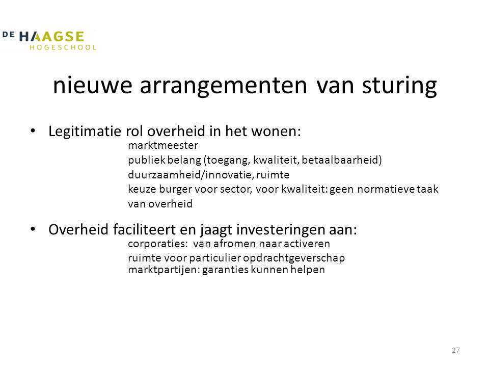 nieuwe arrangementen van sturing • Legitimatie rol overheid in het wonen: marktmeester publiek belang (toegang, kwaliteit, betaalbaarheid) duurzaamhei
