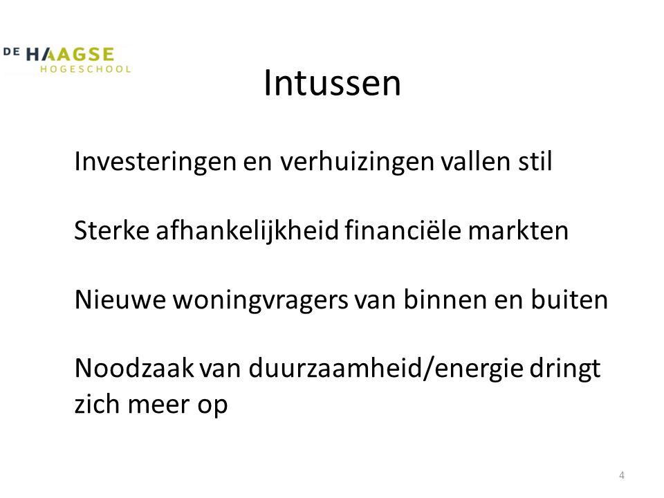 Intussen Investeringen en verhuizingen vallen stil Sterke afhankelijkheid financiële markten Nieuwe woningvragers van binnen en buiten Noodzaak van duurzaamheid/energie dringt zich meer op 4