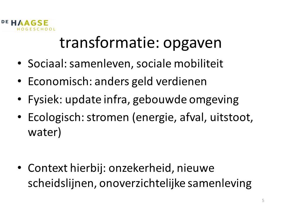 transformatie: opgaven • Sociaal: samenleven, sociale mobiliteit • Economisch: anders geld verdienen • Fysiek: update infra, gebouwde omgeving • Ecolo