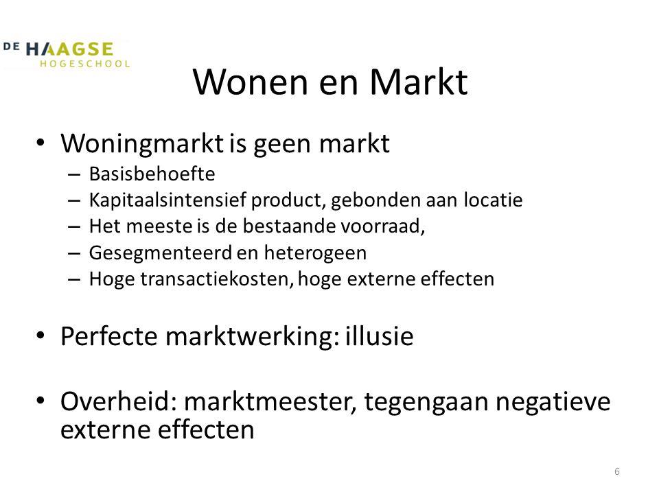 Wonen en Markt • Woningmarkt is geen markt – Basisbehoefte – Kapitaalsintensief product, gebonden aan locatie – Het meeste is de bestaande voorraad, –