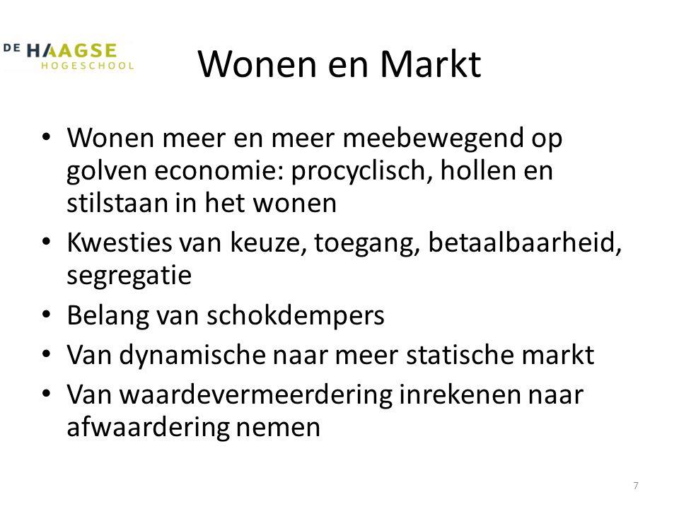 Wonen en Markt • Wonen meer en meer meebewegend op golven economie: procyclisch, hollen en stilstaan in het wonen • Kwesties van keuze, toegang, betaa