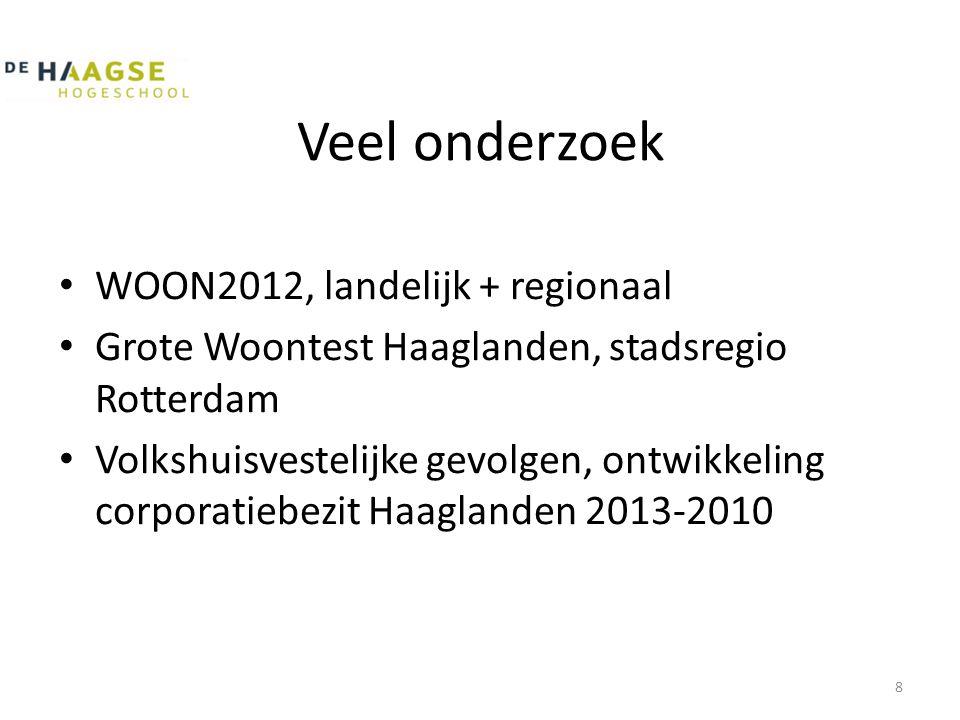 Veel onderzoek • WOON2012, landelijk + regionaal • Grote Woontest Haaglanden, stadsregio Rotterdam • Volkshuisvestelijke gevolgen, ontwikkeling corpor