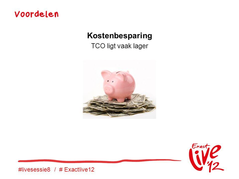 #livesessie8 / # Exactlive12 Voordelen Kostenbesparing TCO ligt vaak lager