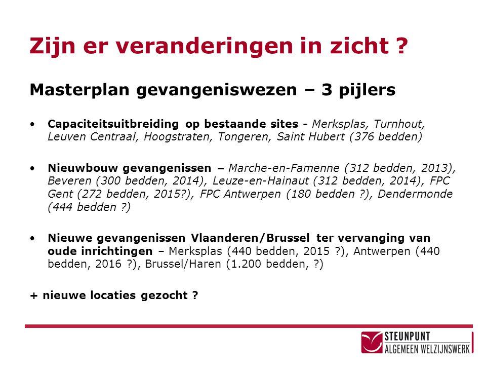 Masterplan gevangeniswezen – 3 pijlers •Capaciteitsuitbreiding op bestaande sites - Merksplas, Turnhout, Leuven Centraal, Hoogstraten, Tongeren, Saint