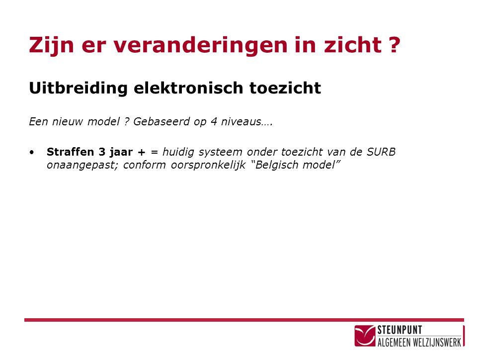 Zijn er veranderingen in zicht ? Uitbreiding elektronisch toezicht Een nieuw model ? Gebaseerd op 4 niveaus…. •Straffen 3 jaar + = huidig systeem onde