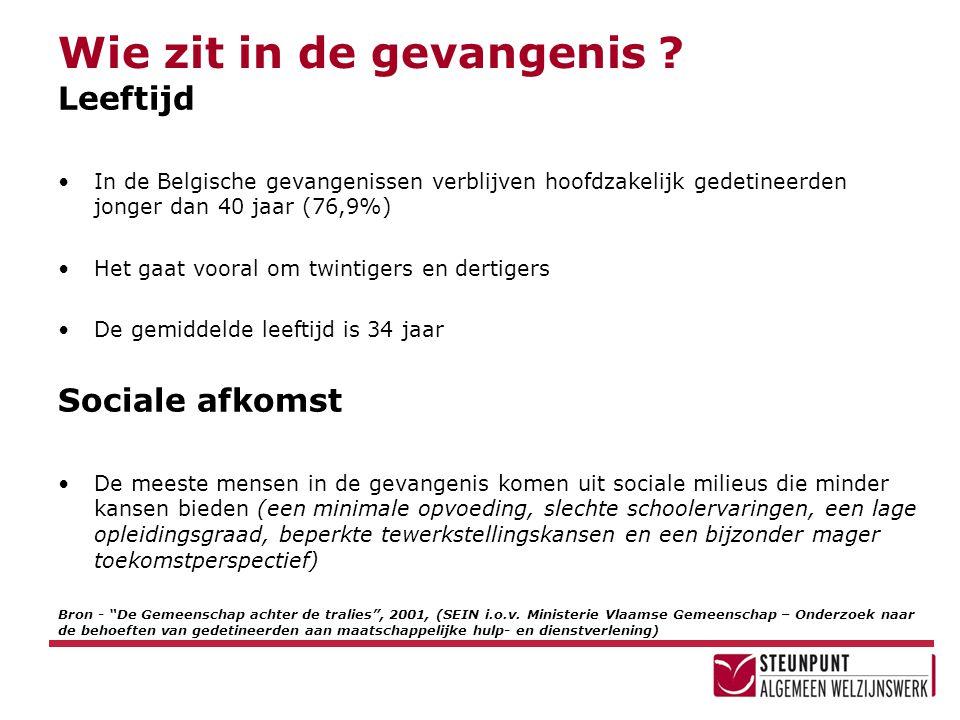 Wie zit in de gevangenis ? Leeftijd •In de Belgische gevangenissen verblijven hoofdzakelijk gedetineerden jonger dan 40 jaar (76,9%) •Het gaat vooral