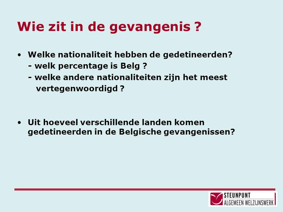 Wie zit in de gevangenis ? •Welke nationaliteit hebben de gedetineerden? - welk percentage is Belg ? - welke andere nationaliteiten zijn het meest ver
