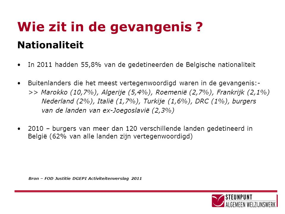 Wie zit in de gevangenis ? Bron – FOD Justitie DGEPI Activiteitenverslag 2011 Nationaliteit •In 2011 hadden 55,8% van de gedetineerden de Belgische na