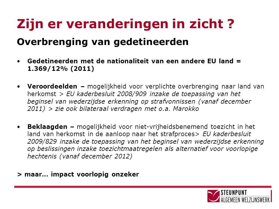 Zijn er veranderingen in zicht ? Overbrenging van gedetineerden •Gedetineerden met de nationaliteit van een andere EU land = 1.369/12% (2011) •Veroord