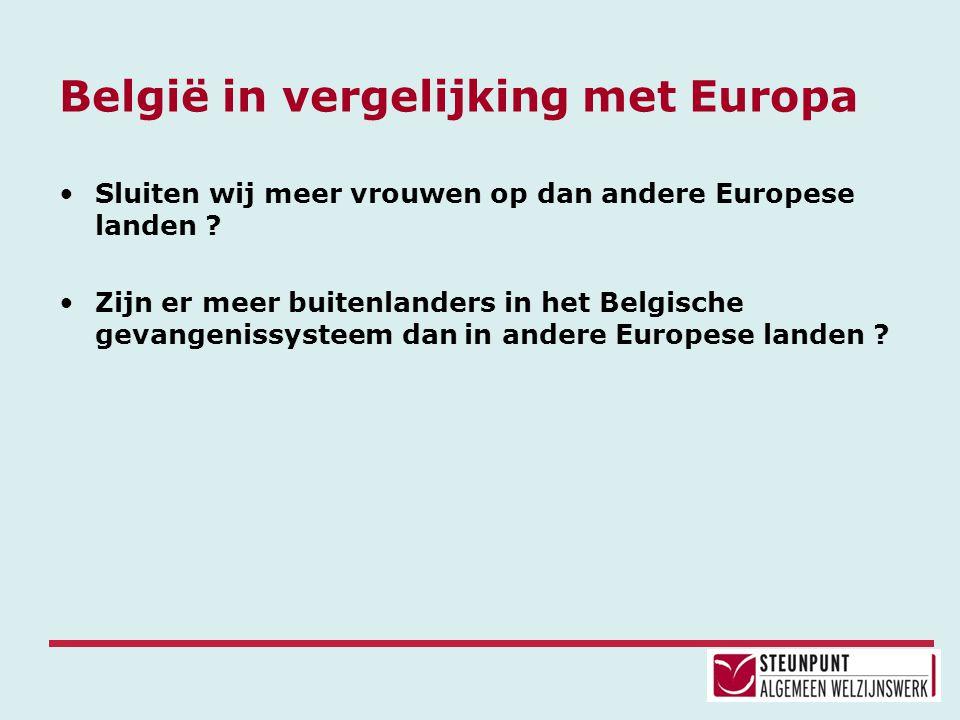 België in vergelijking met Europa •Sluiten wij meer vrouwen op dan andere Europese landen ? •Zijn er meer buitenlanders in het Belgische gevangenissys