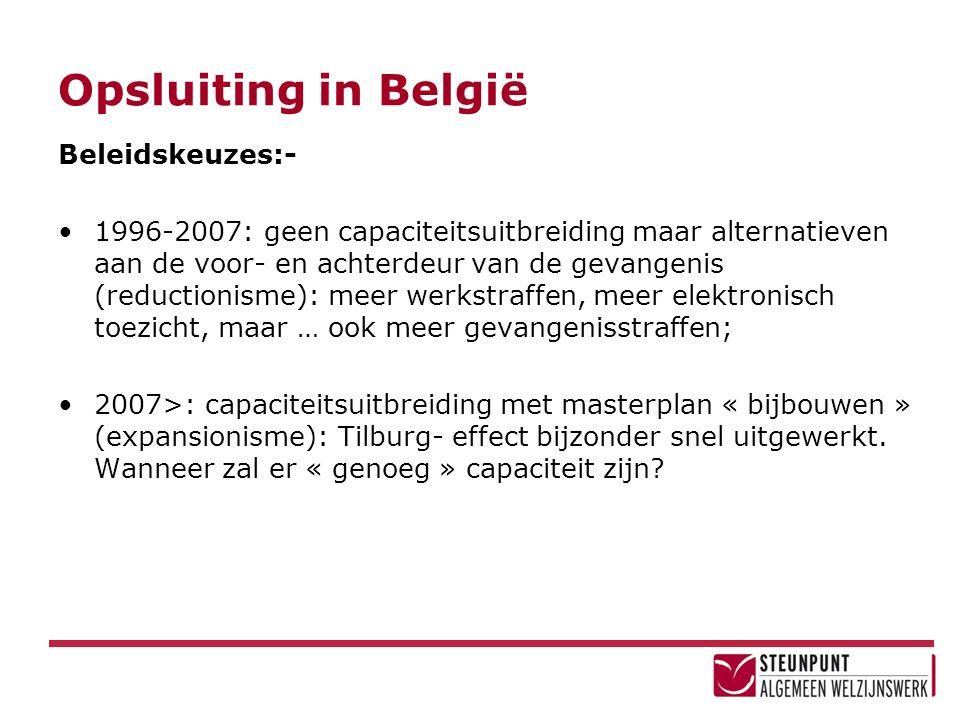 Opsluiting in België Beleidskeuzes:- •1996-2007: geen capaciteitsuitbreiding maar alternatieven aan de voor- en achterdeur van de gevangenis (reductio