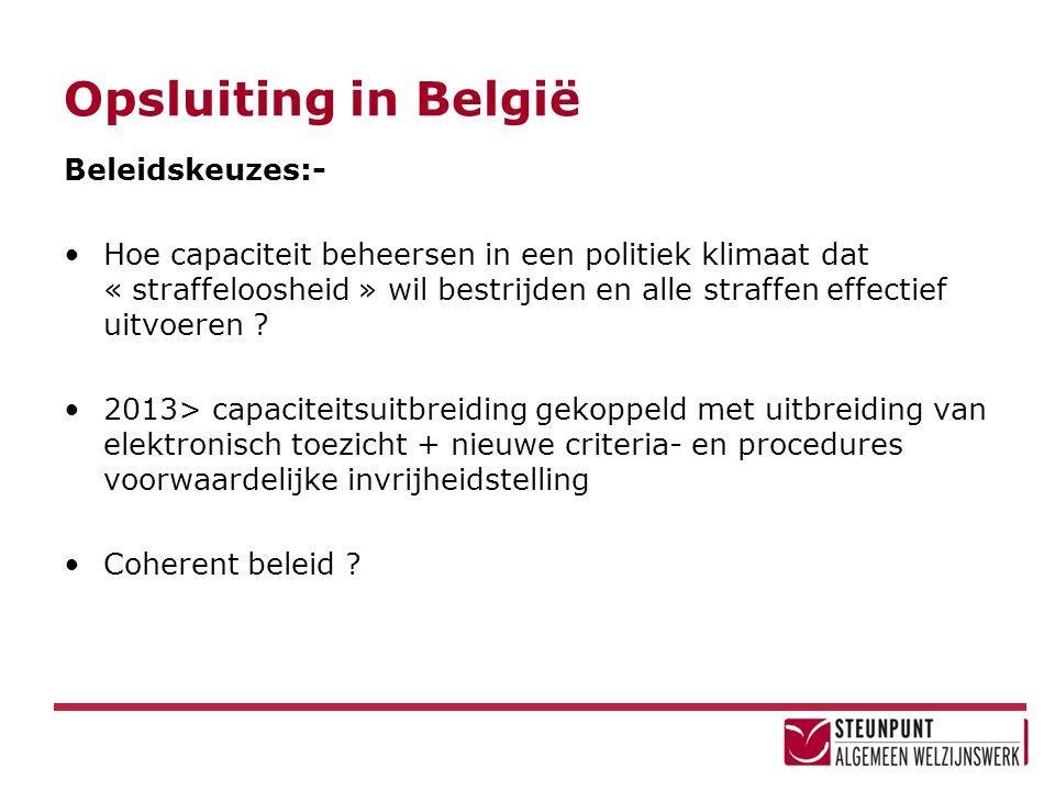 Opsluiting in België Beleidskeuzes:- •Hoe capaciteit beheersen in een politiek klimaat dat « straffeloosheid » wil bestrijden en alle straffen effecti