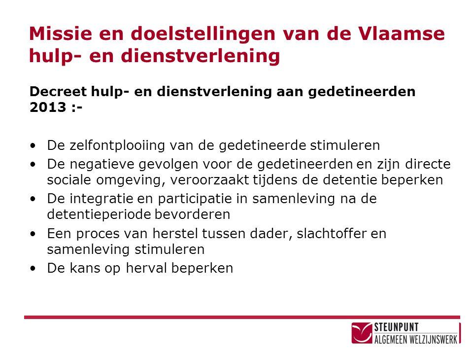 Missie en doelstellingen van de Vlaamse hulp- en dienstverlening Decreet hulp- en dienstverlening aan gedetineerden 2013 :- •De zelfontplooiing van de