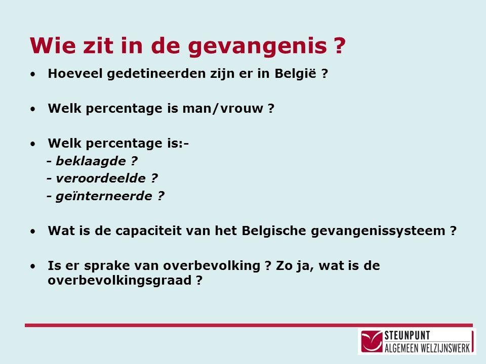 Wie zit in de gevangenis ? •Hoeveel gedetineerden zijn er in België ? •Welk percentage is man/vrouw ? •Welk percentage is:- - beklaagde ? - veroordeel