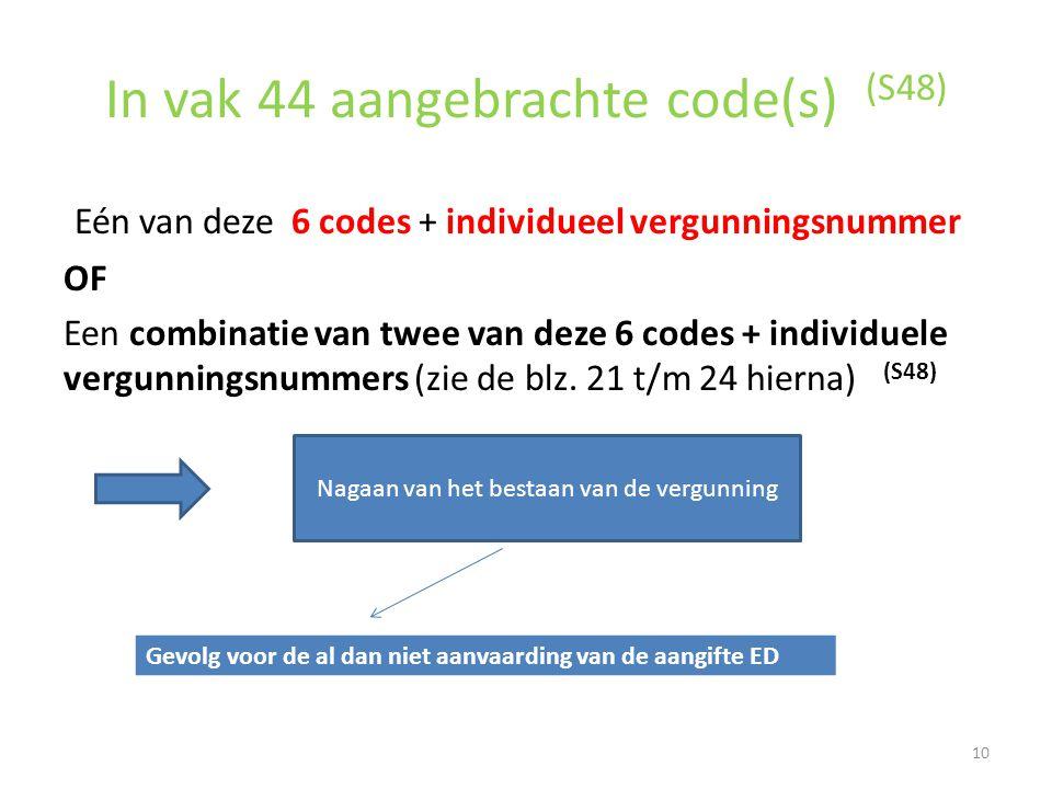 In vak 44 aangebrachte code(s) (S48) Eén van deze 6 codes + individueel vergunningsnummer OF Een combinatie van twee van deze 6 codes + individuele ve