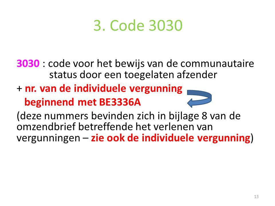 3. Code 3030 3030 : code voor het bewijs van de communautaire status door een toegelaten afzender + nr. van de individuele vergunning beginnend met BE