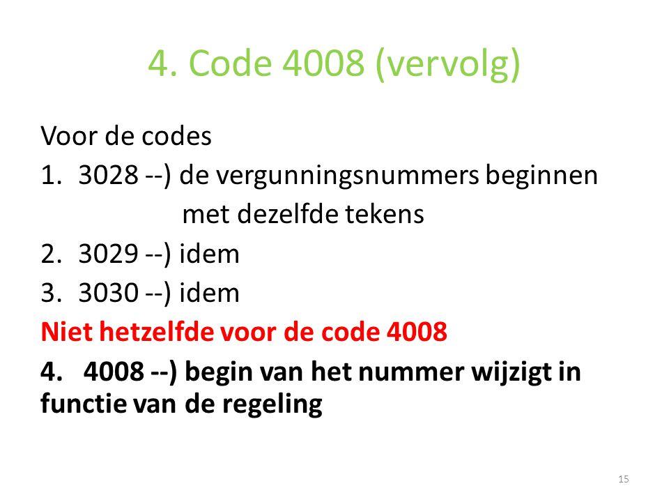 4. Code 4008 (vervolg) Voor de codes 1.3028 --) de vergunningsnummers beginnen met dezelfde tekens 2.3029 --) idem 3.3030 --) idem Niet hetzelfde voor
